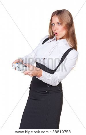 attractive businesswoman playing a video game. studio shot over white background