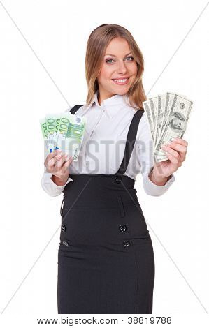 smiley businesswoman with euro and dollar money notes. studio shot over white background