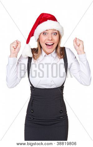 happy businesswoman in santa hat shouting of joy. isolated on white background