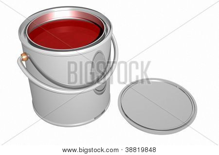 Paint can and cover isolated on white. 3D image.