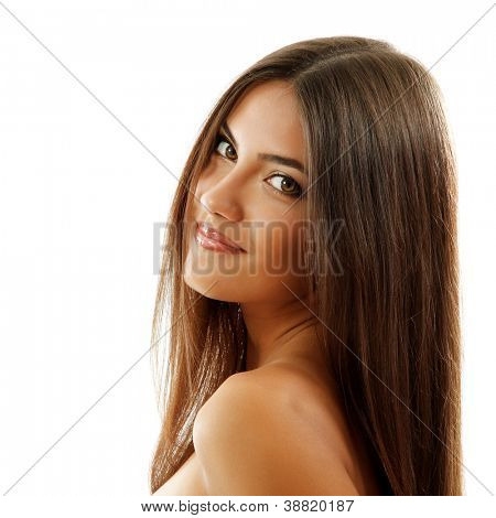 beautiful smiling girl, female face closeup, isolated on white background