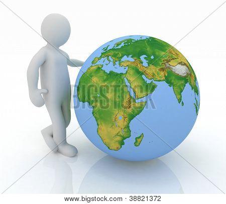 Man de presentación un globo sobre fondo blanco. Elementos de la imagen proporcionada por la NASA