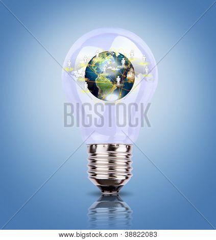 Bombilla con tierra de red social (elementos de esta imagen fue proporcionada por la NASA)