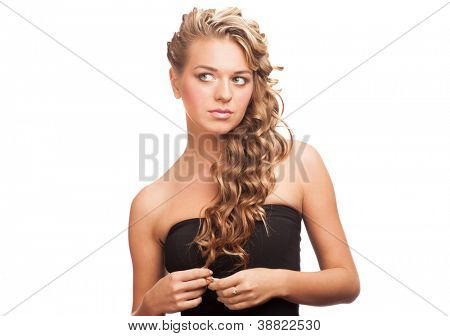 Portrait of  attractive pensive woman with beautiful stylish hairstyle. Isolated on white background