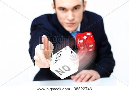 Image of flying dices as symbol of risk and luck