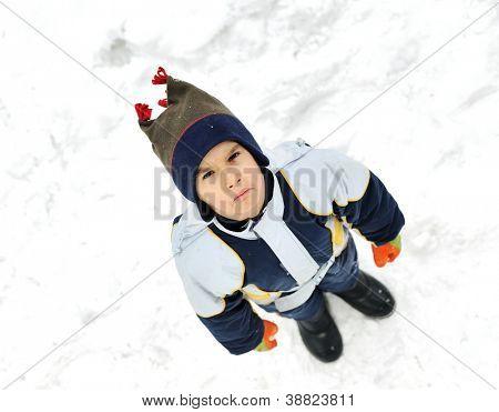 Angry boy on snow
