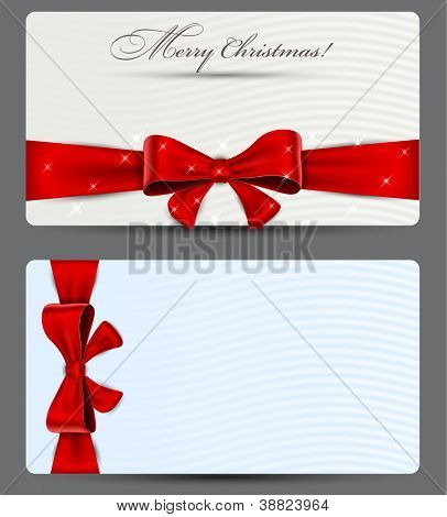 Blank gift backgrounds with red bow. Vector eps10.