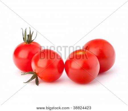 Small cherry tomato on white background close up