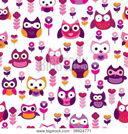 Seamless retro colourful owl bird pattern for kids in vector