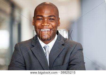 smiling african american businessman closeup portrait