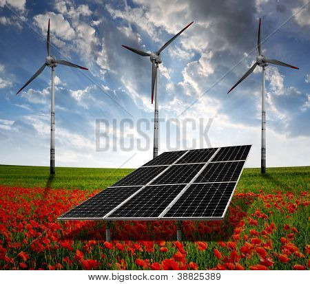 solar energy panels and wind turbine on the poppy field in the sunset