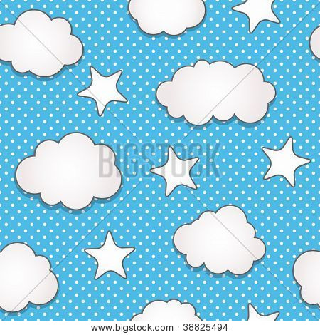 Cute clouds seamless pattern, raster version