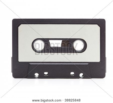 Frühen 70er Jahren-Kassette, isolated on White mit leichten Reflektion. Whitelabel leer.