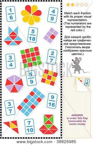 Visuelle Brüche pädagogische Mathe-puzzle