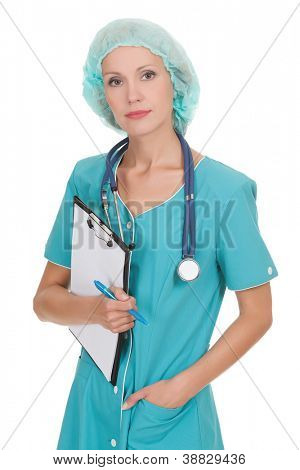 Confident medical doctor woman with stethoscope and clipboard.