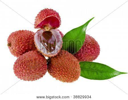 Fresh litchi fruit isolated on white