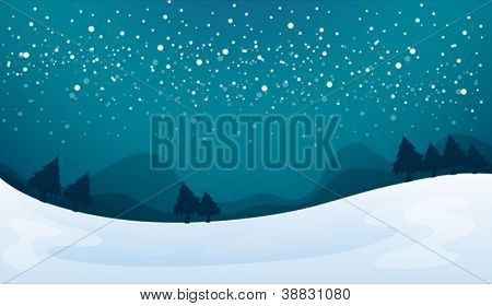 illustration of a snowfall and beautiful nature in night