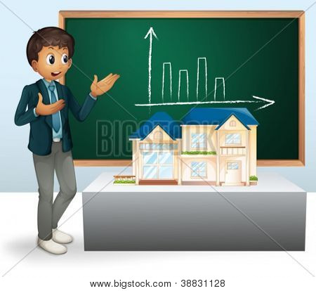 illustration of a man, house model and a board