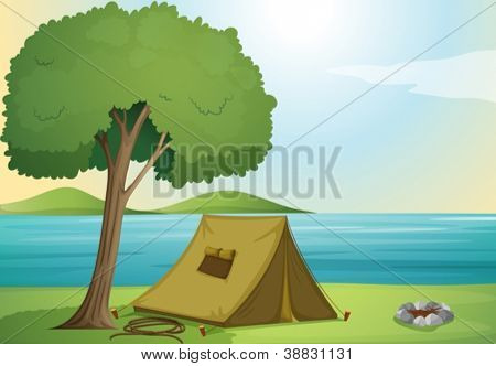 illustration of a tree and a tent in beautiful nature