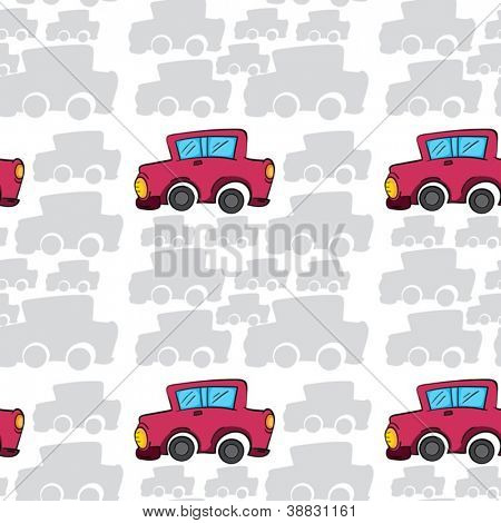 illustration of an array of cars on white background