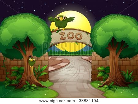 illustration of a zoo and owl in a beautiful nature