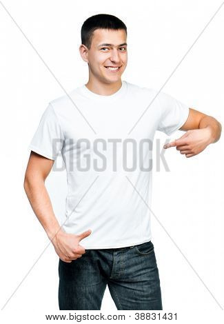 white t-shirt on a young man isolated. Ready for your design