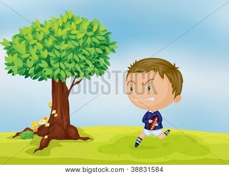 illustration of a boy and a tree in beautiful nature