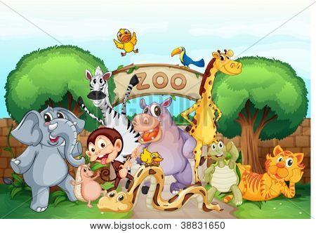illustratie van een dierentuin en de dieren in een schitterende natuur