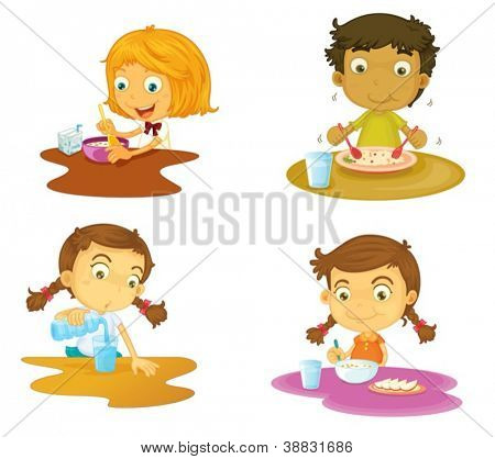 illustration of four kids having food on white background
