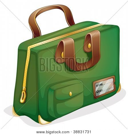 illustration of a green bag on a white background