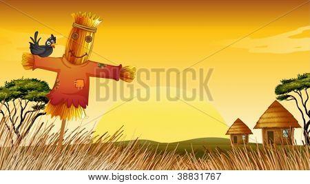 illustration of man statue in farm adn farm house