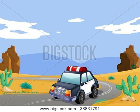 illustration of a car in a desert