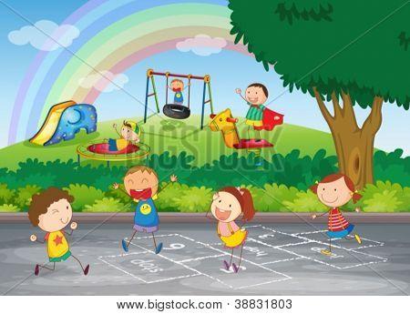 Dibujos animados de niños jugando en el parque - Imagui