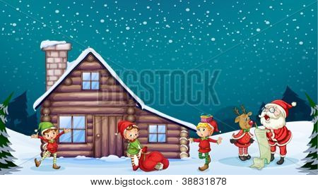 illustration of a santa clause, kids and a reindeer in nature