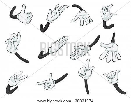 illustration of various hands on a white background