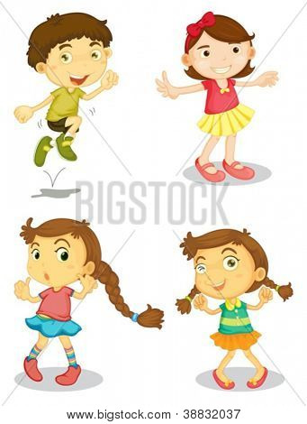illustration of four kids on a white background