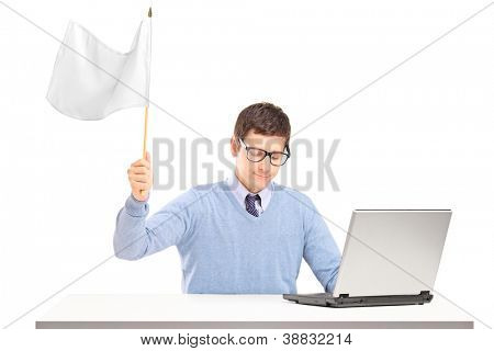 Sad man waving a white flag gesturing defeat isolated on white background