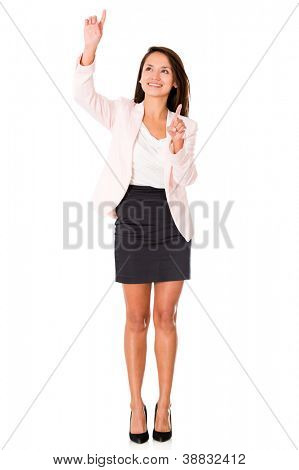 Business woman pointing two different places - isolated over a white background