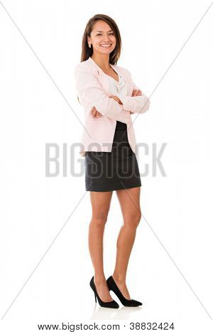 Sucessful business woman standing with arms crossed - isolated