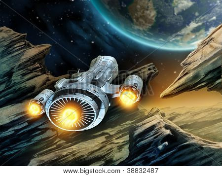Futuristic spaceship traveling over a rocky alien planet. Digital illustration.
