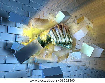 A metallic fist breaking through a brick wall. Digital illustration.