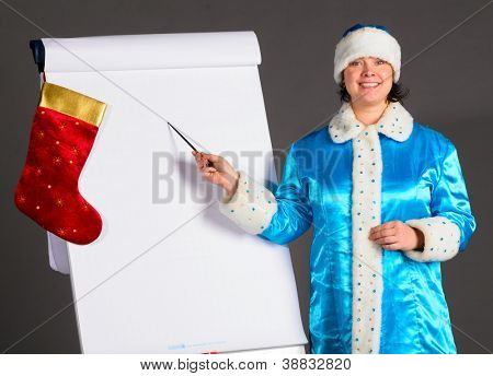 Snow Maiden is pointing on flip chart
