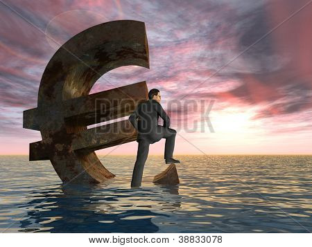 High resolution conceptual 3D currency euro symbol sinking in water,sea or ocean as a concept for European crisis.A metaphor for financial,banking,businessman,economy,problem,danger,risk at sunset