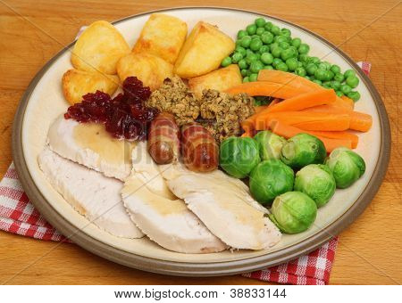 Christmas dinner of roast turkey with vegetables.