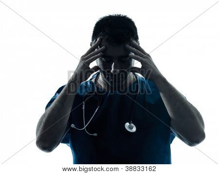 one caucasian man doctor surgeon medical worker tired headache silhouette isolated on white background