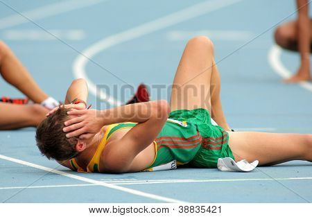 BARCELONA - JULY, 13:Marius Savelskis of Lithuania during 10000 metres race walk event of of the 20th World Junior Athletics Championships at the Olympic Stadium on July 13, 2012 in Barcelona, Spain