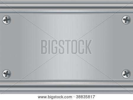 Placa de metal. Una placa de metal con tornillos