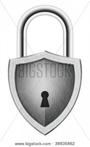 Padlock in the shape of a shield, isolated on white