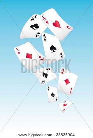 playing cards. Aces are flying in the blue sky