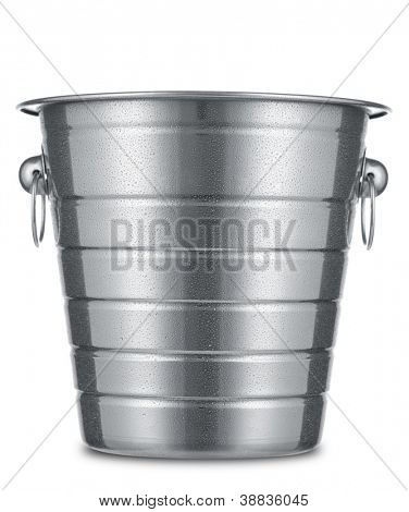Dewy ice bucket isolated on white background